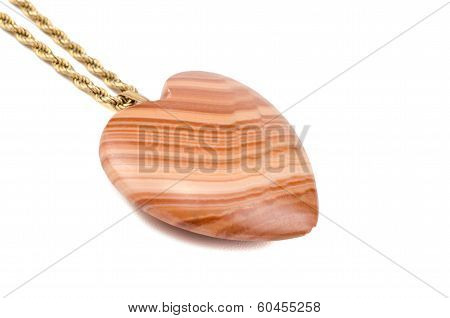 Mudline Stone Heart With Golden Chain