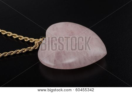 Rose Quartz Heart With Golden Chain
