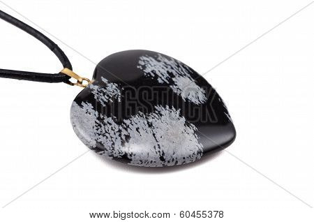 Snowflake Obsidian Heart With Leather String