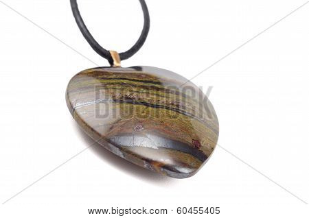 Tiger Iron Eye Stone Heart With Leather String