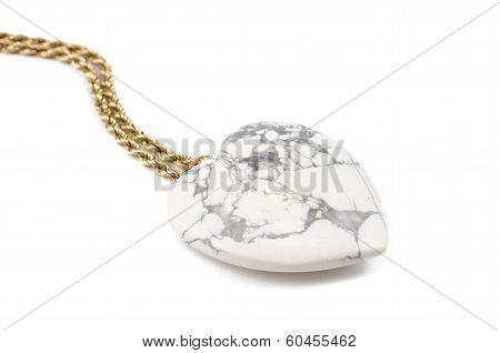 White Howlite Heart With Golden Chain