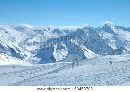 Ski Slopes On Hintertux Glacier