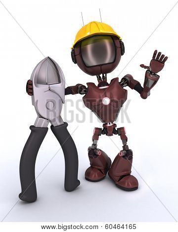 3D Render of an android Builder with wire cutters