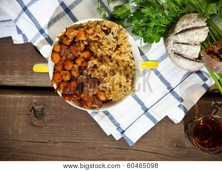 Uzbek National Dish Plov In A Bowl