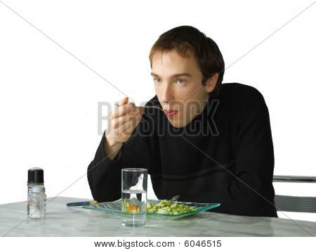Young Man Eating