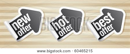 New hot offer stickers in form of arrow, Eps10.