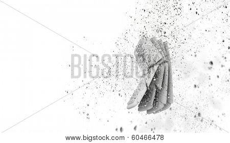conceptual image with broken keyboard on white background