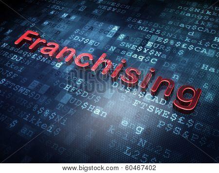 Finance concept: Red Franchising on digital background