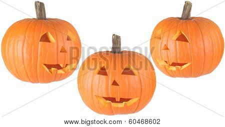 Isolated Pumpkin Jackolanterns