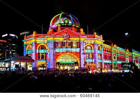 MELBOURNE, AUSTRALIA - FEBRUARY 22,2014: Flinders Street Station during Melbourne's White Night which attracted more than 500,000 visitors to the city centre