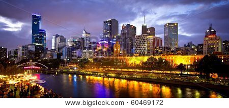 MELBOURNE, AUSTRALIA - FEBRUARY 22,2014:Melbourne's White Night attracted more than 500,000 visitors to the city centre and lit up its buildings as works of art