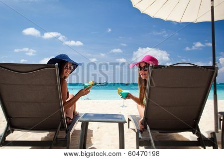 Luxury Vacation For Woman. White Tropical Beach.