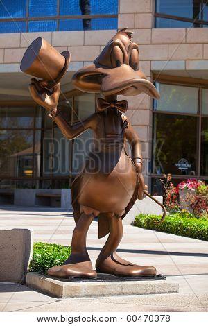 Donald Duck Greeting Visitors At The Entrance To Warner Bros.