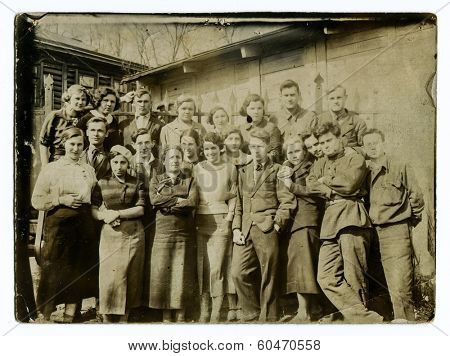 MOSCOW, USSR - CIRCA 1940s : An antique photo shows A group of Soviet students.