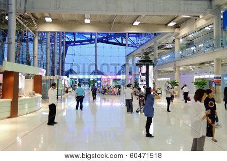 BANGKOK, THAILAND - OCT 25,2011: Bangkok Airport building. Suvarnabhumi Airport is one of two international airports serving Bangkok, Thailand.