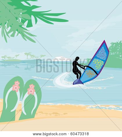 Windsurfer On The Wave