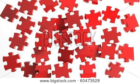 3D pieces of puzzle randomly falling isolated on white