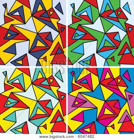 Fragments of the abstraction, cubism and pop-art (seamless pattern set #4)