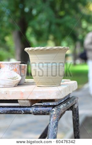raw clay pots at the fair