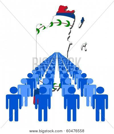 Lines of people with Belize map flag vector illustration