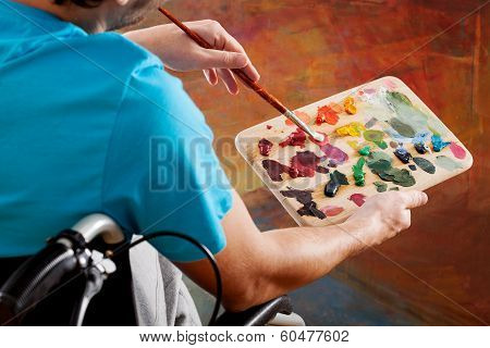 Man On Wheelchair Painting