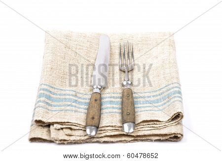 Ancient Cutlery On Linen