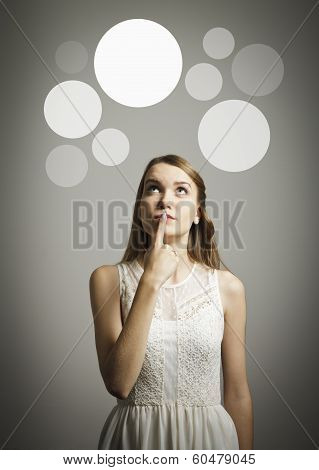 Girl In White And Gray Bubbles.