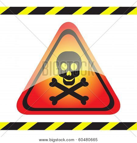 Warning Sign Of Poison On A Triangular Table.