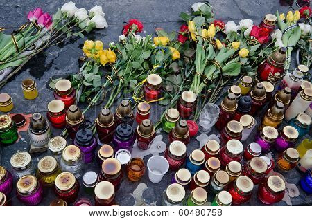 Flowers And Candles In Honor Of Those Killed In The Maidan In Kiev