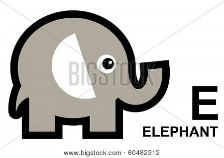 illustration of isolated animal alphabet. E is for alephant. Vector illustration.