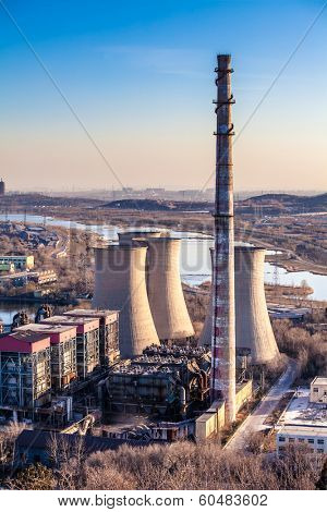 Cooling tower of heavy industry factory in Beijing