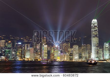 HONG KONG - NOV 10: A Symphony of Lights on November 10, 2011 in Hong Kong, China. A Symphony of Lights is the nightly multimedia show, which involves more than 40 buildings.