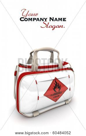 Handbag with a flammable liquid warning sign
