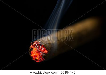 burning cigar on black background