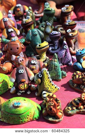 Funny clay figurines of animals