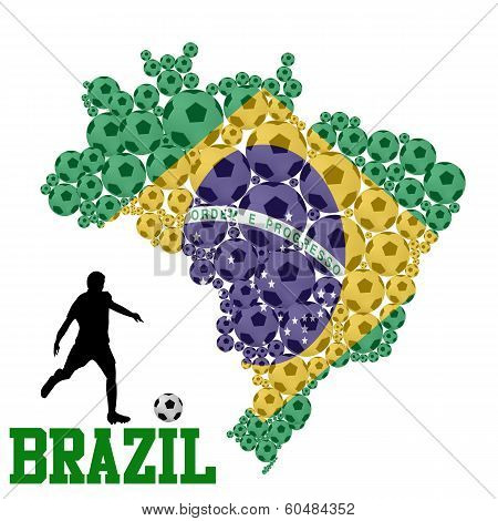 Soccer Ball Shape Of Brazil Map
