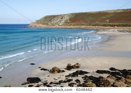 Gwynver Beach In Cornwall England Uk.