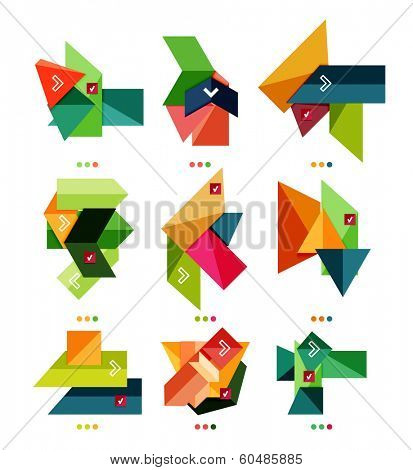 Collection of abstract colorful geometric shapes isolated on white.  For business background | numbered banners | business lines | graphic website