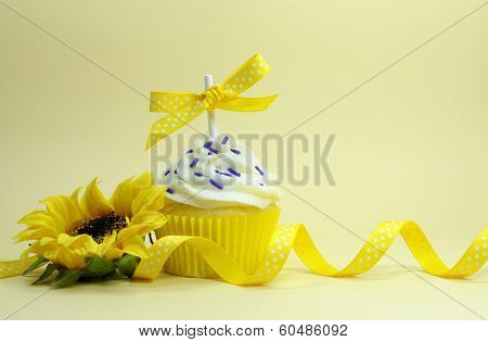 Yellow Theme Cupcake With Sunflower For Birthday, Mothers Day, Easter, Bridal Or Baby Shower With Co
