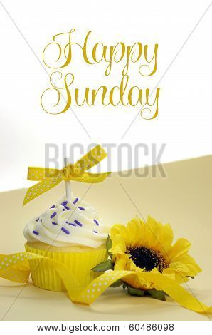 Yellow Theme Cupcake And Sunflower With Happy Sunday Sample Text Or Copy Space For Text Here.
