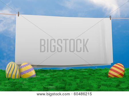 Easter eggs lying in lush grass