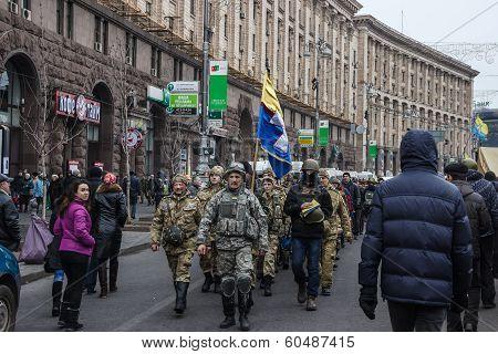 Troop Of Self-defense Of The Maidan In Kiev
