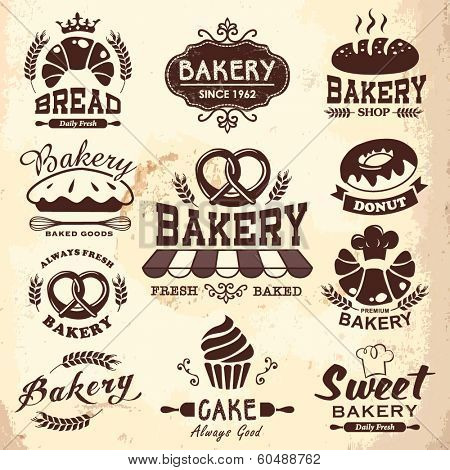 Collection of vintage bakery badges and labels