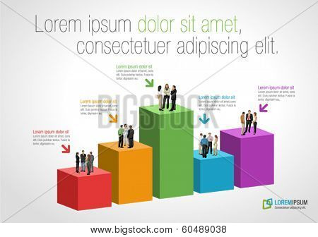 Template for advertising brochure with business people over chart