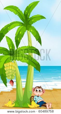 Illustration of a monkey at the beach with a full stomach