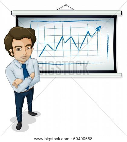 Illustration of a handsome businessman standing in front of the bulletin board on a white background