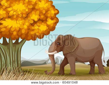 Illustration of a big brown elephant near the big tree