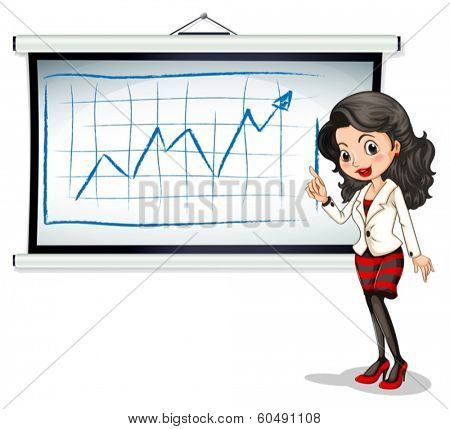 Illustration of a beautiful businesswoman reporting on a white background