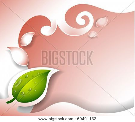 Illustration of an empty template design with a green leaf on a white background