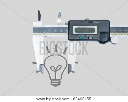 Closeup Digital Vernier Isolated With Bulb Icon